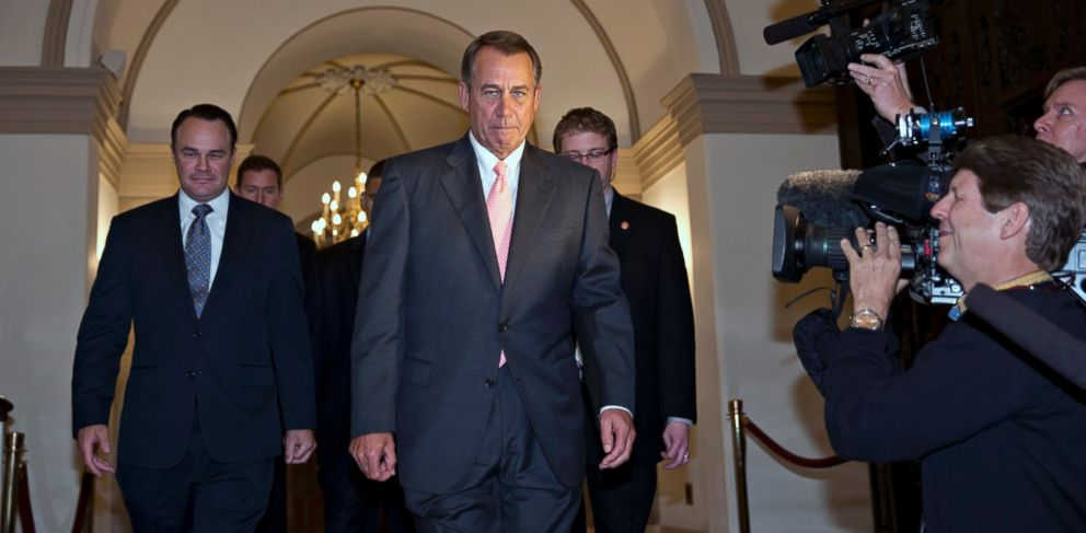 PHOTO: House Speaker John Boehner of Ohio departs the Capitol in Washington, Oct. 10, 2013, en route to the White House to meet with President Barack Obama about a solution to ending the government shutdown.