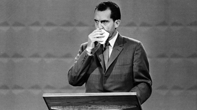 PHOTO: U.S. Republican presidential candidate, Vice President Richard M. Nixon wipes his face with a handkerchief during the nationally televised presidential debates with Sen. John F. Kennedy, Democratic nominee, in Chicago, Ill. in this Sept. 26, 1960 f