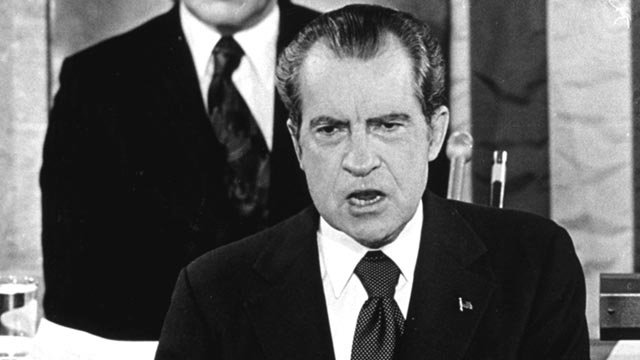 PHOTO: With Gerald Ford seated behind him, President Richard Nixon delivers a State of the Union message before a joint session of Congress in Washington, Jan. 1974.