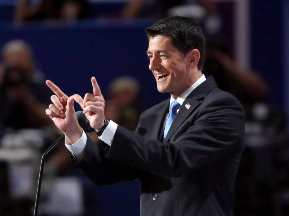 PHOTO: Speaker Paul Ryan addresses the delegates during the second day of the Republican National Convention in Cleveland, July 19, 2016.