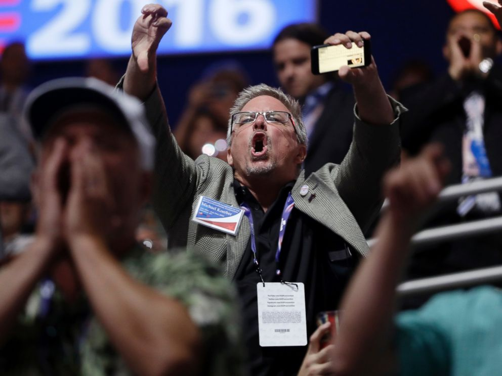 PHOTO: People react to Sen. Ted Cruz during his address on the third day session of the Republican National Convention in Cleveland, July 20, 2016.
