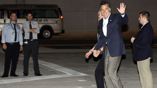 PHOTO: Republican presidential candidate and former Massachusetts Gov. Mitt Romney and wife Ann arrive in Tel Aviv, Israel, Saturday, July 28, 2012.