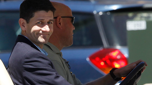 PHOTO: Rep. Paul Ryan, R-Wis., is driven in a golf cart at a private donors' conference for Republican presidential canddate Mitt Romney at The Chateaux at Silver Lake at Deer Valley Resort in Park City, Utah, Saturday, June 23, 2012.