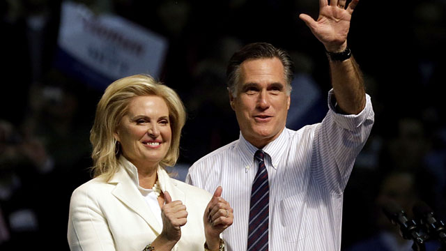 PHOTO:Republican presidential candidate, former Massachusetts Gov. Mitt Romney, right, takes the stage with wife Ann before speaking at a campaign event at the Verizon Wireless Arena, Monday, Nov. 5, 2012, in Manchester, N.H.