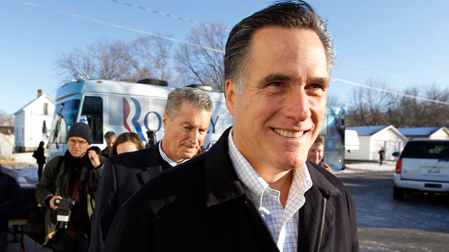 PHOTO: Republican presidential candidate and former Massachusetts Gov. Mitt Romney walks to a television interview following a campaign appearance at the Family Table restaurant, Jan. 1, 2012, in Atlantic, Iowa. Michael Douglas plays Gordon Gekko in Wall