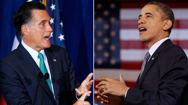 PHOTO: Republican presidential candidate, former Massachusetts Gov. Mitt Romney at the University of Chicago, March 19, 2012, left, and President Barack Obama in Osawatomie, Kan., Dec. 6, 2011.