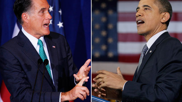 PHOTO: File photos show Republican presidential candidate, former Massachusetts Gov. Mitt Romney at the University of Chicago, March 19, 2012 and President Barack Obama in Osawatomie, Kan., Dec. 6, 2011.