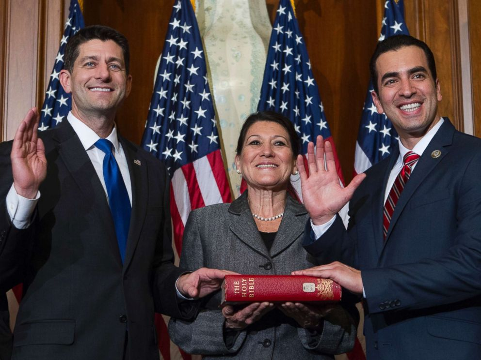 PHOTO: House Speaker Paul Ryan of Wis. administers the House oath of office to Rep. Ruben Kihuen, D-Nev., during a mock swearing in ceremony on Capitol Hill in Washington, Tuesday, Jan. 3, 2017, as the 115th Congress began.