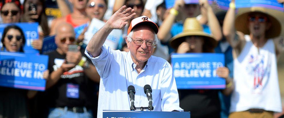 PHOTO: Sen. Bernie Sanders, I-Vt., a candidate for the Democratic presidential nomination, speaks at Visalia Community Stadium at Golden West High School in Visalia, Calif., Sunday, May 29, 2016.