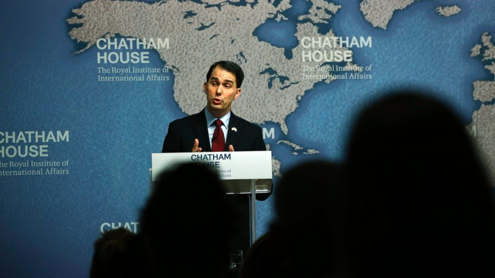 Wisconsin Gov. Scott Walker delivers his speech at Chatham House in central London, Feb. 11, 2015.