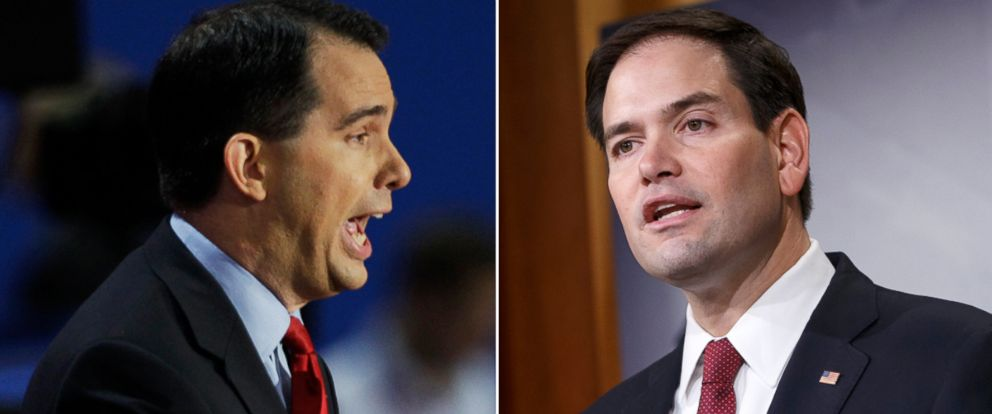 PHOTO: Wisconsin Governor Scott Walker, left, speak in Tampa, Fla., Aug. 28, 2012. Sen. Marco Rubio, right, speaks during a news conference on Capitol Hill in Washington, Dec. 17, 2014.