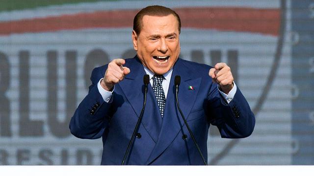 PHOTO: Former Italian Premier and leader of the center-right coalition Silvio Berlusconi speaks in Rome, March 23, 2013.