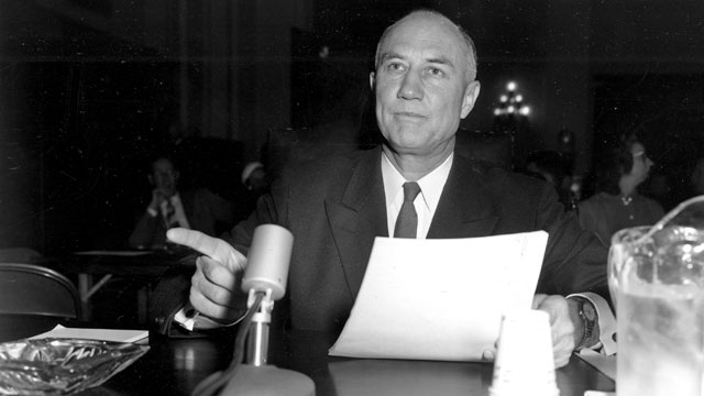 PHOTO: Sen. Strom Thurmond, D-S.C., gestures from the witness table during testimony before the House Judiciary Subcommittee on Capitol Hill against proposed civil rights legislation in Washington D.C., Feb. 26, 1957.