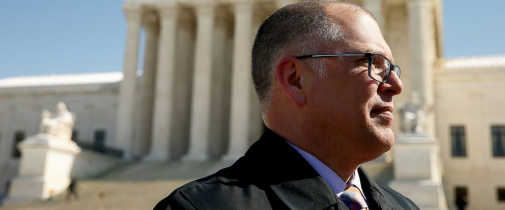 PHOTO: James Obergefell speaks to a member of the media in front of the U.S. Supreme Court in Washington on March 6, 2015.