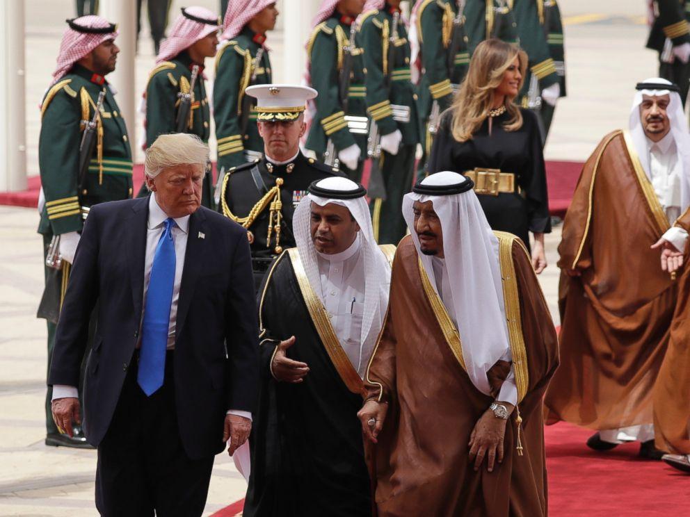 PHOTO: President Donald Trump and first lady Melania Trump, rear, arrive at the Royal Terminal of King Khalid International Airport, Saturday, May 20, 2017, in Riyadh.