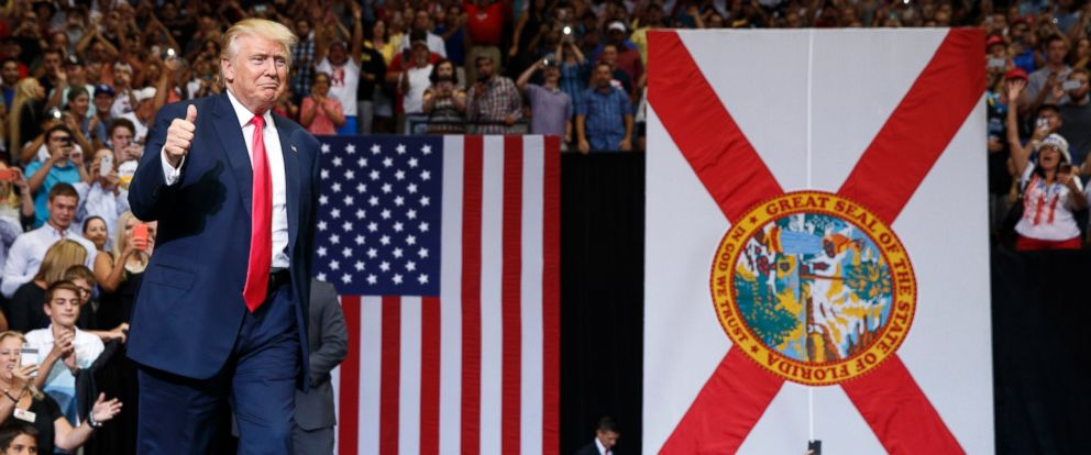 PHOTO: Republican presidential candidate Donald Trump arrives to a campaign rally at Jacksonville Veterans Memorial Arena, Aug. 3, 2016, in Jacksonville, Florida.