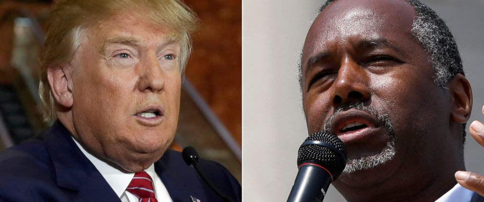 PHOTO: Republican candidates Donald Trump and Ben Carson are taking political swings at each other.