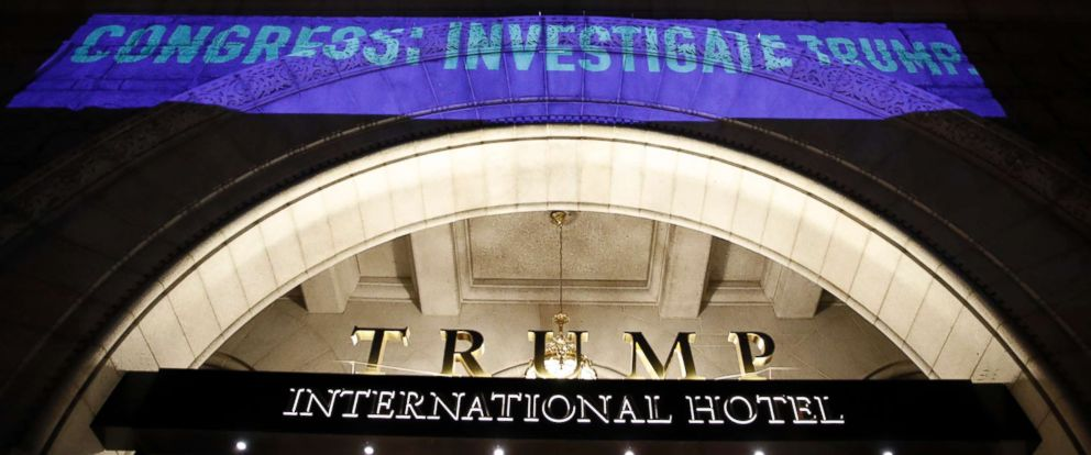 PHOTO: UltraViolet, a national womens group, projects a message on the 12th Street side of the Trump International Hotel before President Donald Trump gives his State of the Union Address, Tuesday, Jan. 30, 2018, in Washington.