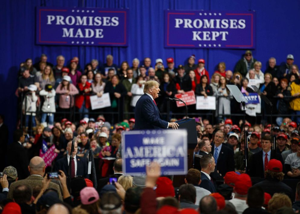 PHOTO: President Donald Trump speaks at a campaign rally at Atlantic Aviation in Moon Township, Pa., Saturday, March 10, 2018.