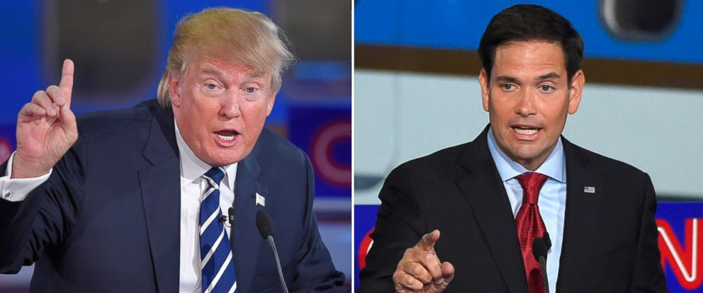 PHOTO: Republican presidential candidates Donald Trump and Marco Rubio speak during the CNN Republican presidential debate at the Ronald Reagan Presidential Library and Museum, Sept. 16, 2015, in Simi Valley, Calif.