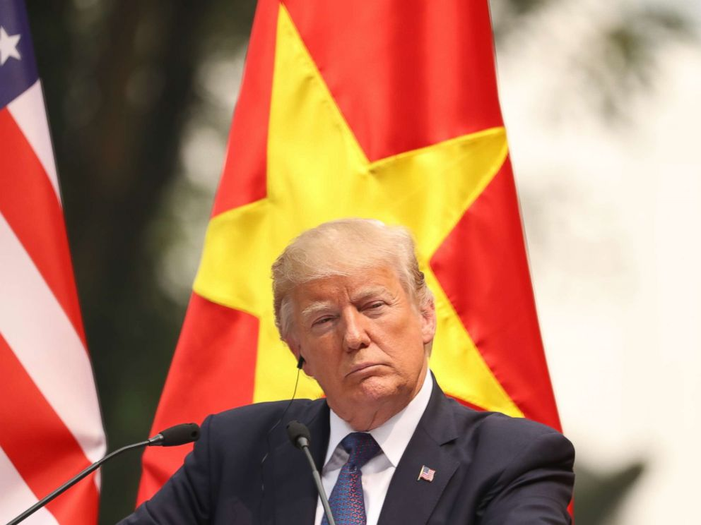 PHOTO: President Donald Trump speaks attends a news conference at the Presidential Palace, Sunday, Nov. 12, 2017, in Hanoi, Vietnam.
