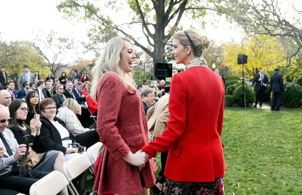 Tiffany Trump (L) and Ivanka Trump (R) share a laugh during the National Thanksgiving Turkey ceremony in the Rose Garden of the White House November 21, 2017 in Washington, DC.