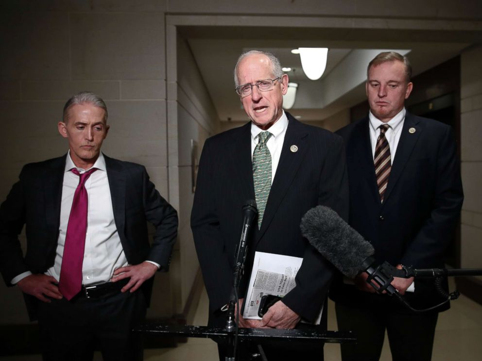 PHOTO: House Intelligence Committee member Rep. Mike Conaway, R-Texas, center, Rep. Tom Rooney, R-Fla., right, and Rep. Trey Gowdy, R-S.C., left, after House Intelligence Committee meeting where Donald Trump Jr., was interviewed, Wednesday, Dec. 6, 2017.