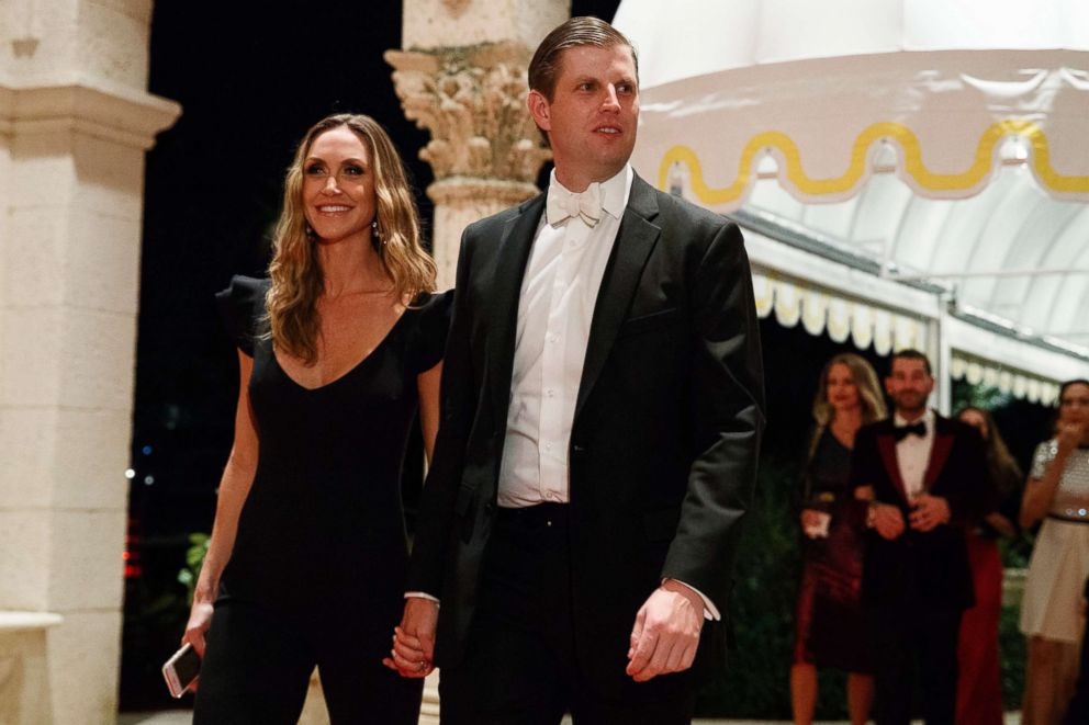 PHOTO: Eric Trump and his wife Lara Trump arrive for a New Years Eve gala at Mar-a-Lago resort, Sunday, Dec. 31, 2017, in Palm Beach, Fla.
