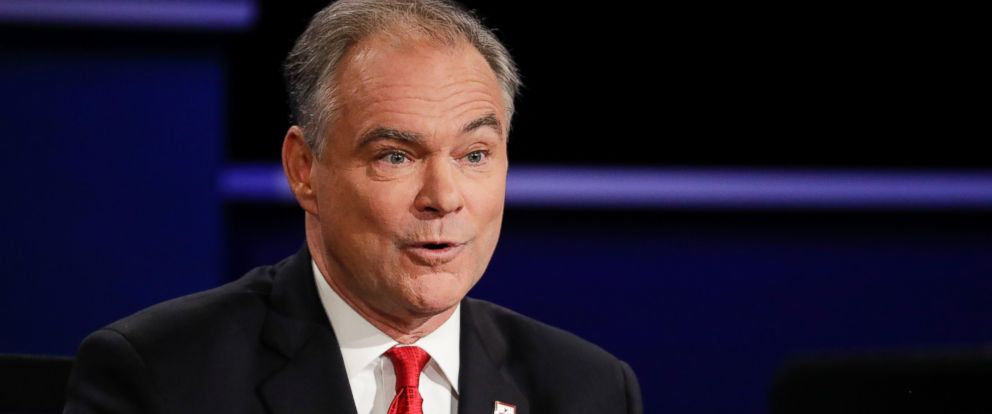 PHOTO: Democratic vice-presidential nominee Sen. Tim Kaine answers a question during the vice-presidential debate at Longwood University in Farmville, Va., Oct. 4, 2016.