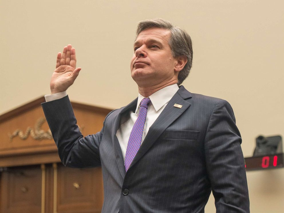 PHOTO: FBI Director Christopher Wray is sworn in before he testifies at a House Judiciary Committee on the current state of the FBI and its investigations on December 7, 2017.