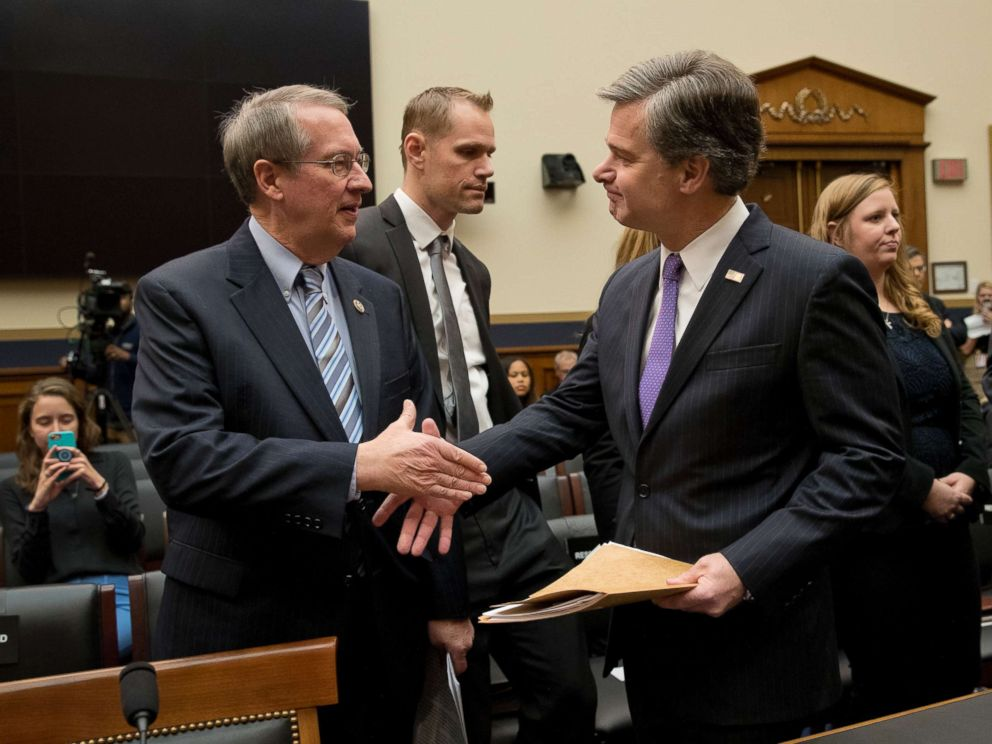 PHOTO: FBI Director Christopher Wray, right, and House Judiciary Committee Chairman Bob Goodlatte, R-Va., shake hands before the start of a House Judiciary hearing on Capitol Hill in Washington, Dec. 7, 2017, on oversight of the FBI.