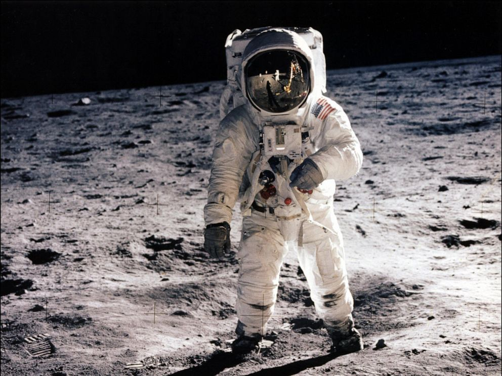 PHOTO: In this file photo taken on July 20, 1969 astronaut Buzz Aldrin, lunar module pilot, walks on the surface of the moon during the Apollo 11 extravehicular activity (EVA).