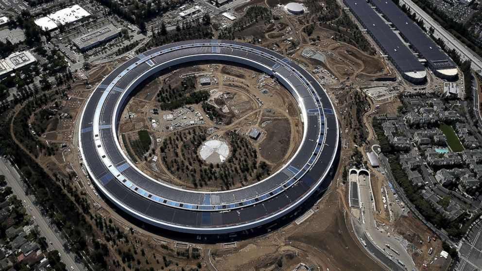 An aerial view of the new Apple headquarters, April 28, 2017, in Cupertino, Calif.