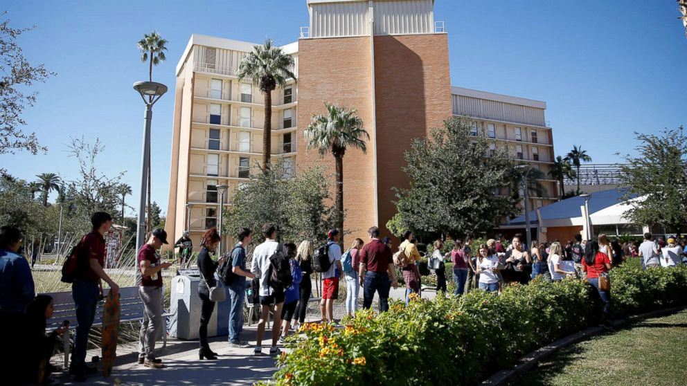 People line up to vote at the ASU Palo Verde West polling station during the U.S. midterm elections in Tempe, Arizona, Nov. 6, 2018.