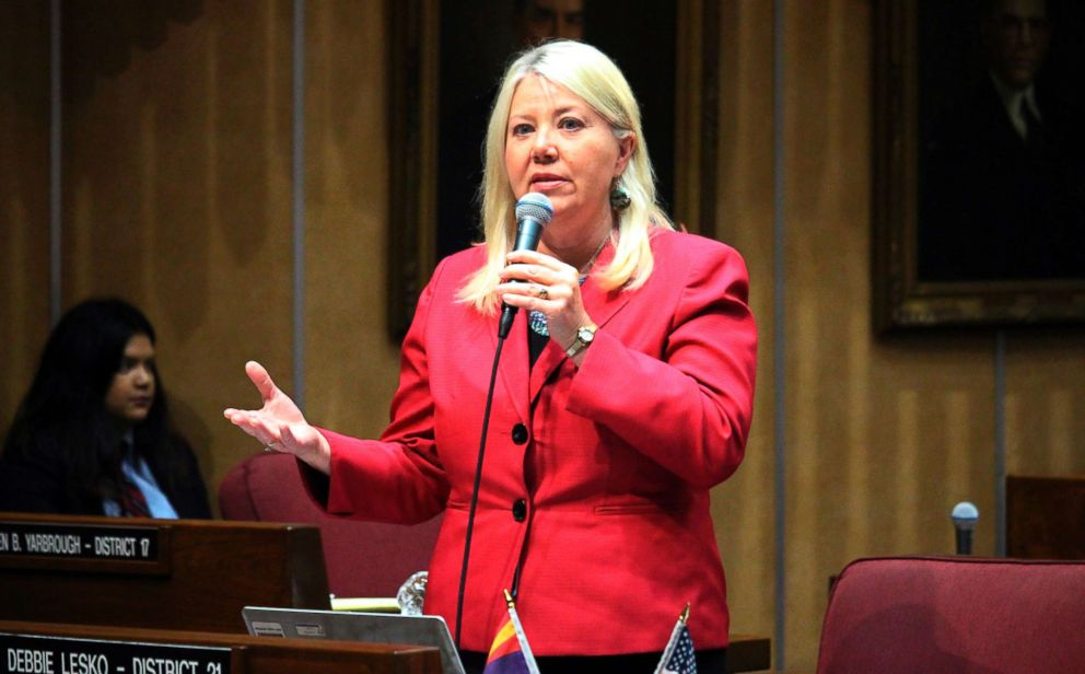PHOTO: Arizona state Sen. Debbie Lesko speaks in the Senate chambers in Phoenix, April 6, 2017.
