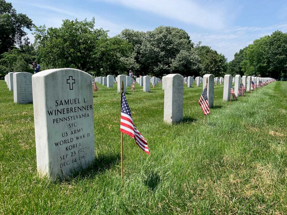 PHOTO: American flag placed in front of 228,000 headstones in Arlington National Cemetery, May 23, 2019.