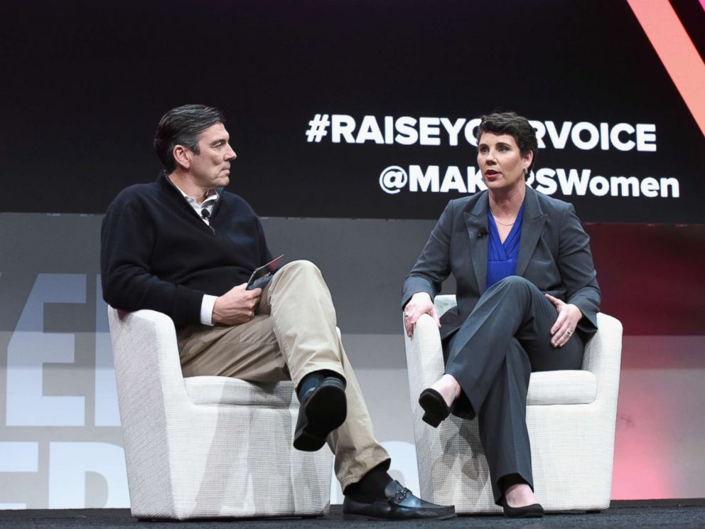 PHOTO: Chief Executive Officer, Oath, Tim Armstrong and former U.S. Marine and congressional candidate in Kentucky Amy McGrath speak onstage during The 2018 MAKERS Conference at NeueHouse Hollywood, Feb. 6, 2018, in Los Angeles.