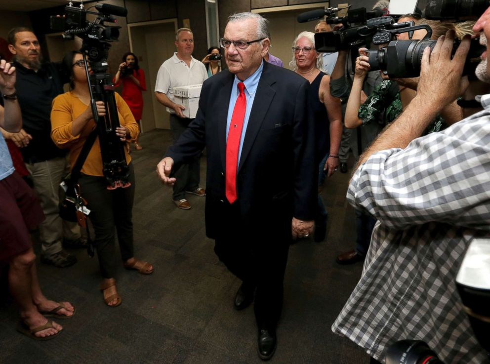 PHOTO: Former Arizona Sheriff Joe Arpaio arrives at the Arizona Secretary of States office in Phoenix, to turn in petition signatures in his bid to appear on the ballot in the race to succeed retiring U.S. Sen. Jeff Flake, May 22, 2018.