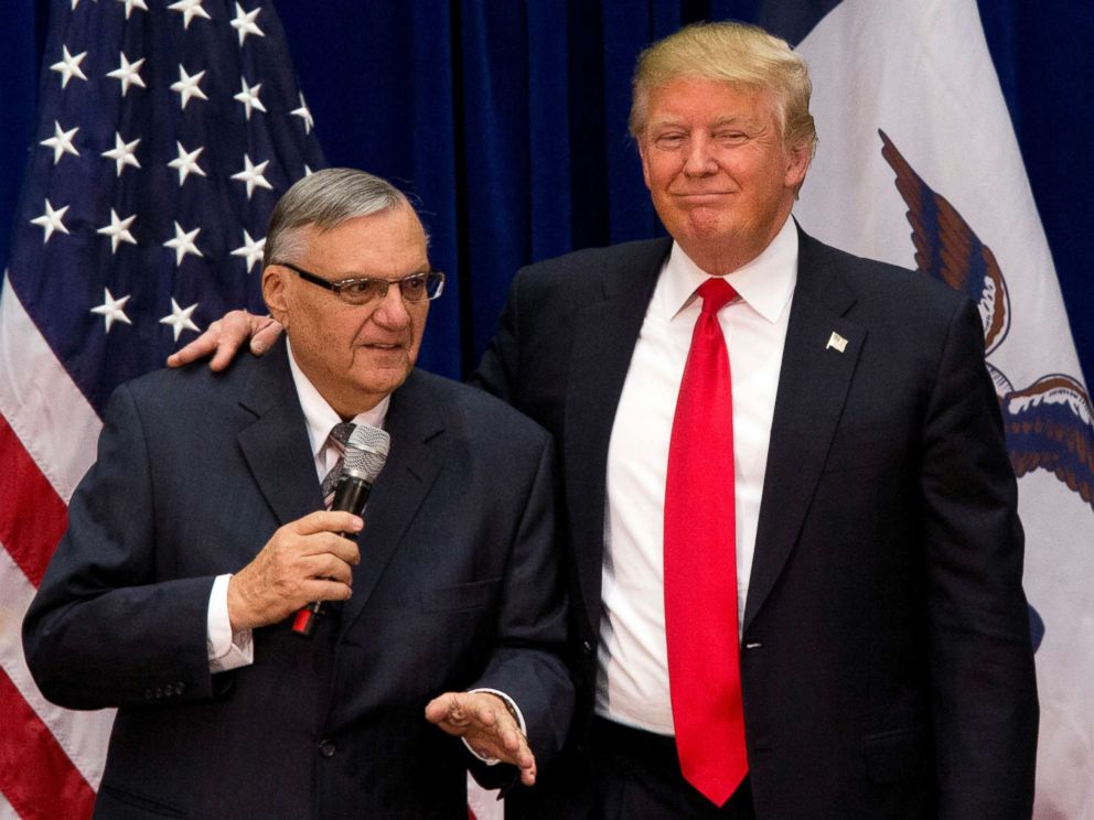 PHOTO: In this Jan. 26, 2016, file photo, then-Republican presidential candidate Donald Trump is joined by Joe Arpaio at a campaign event in Marshalltown, Iowa.