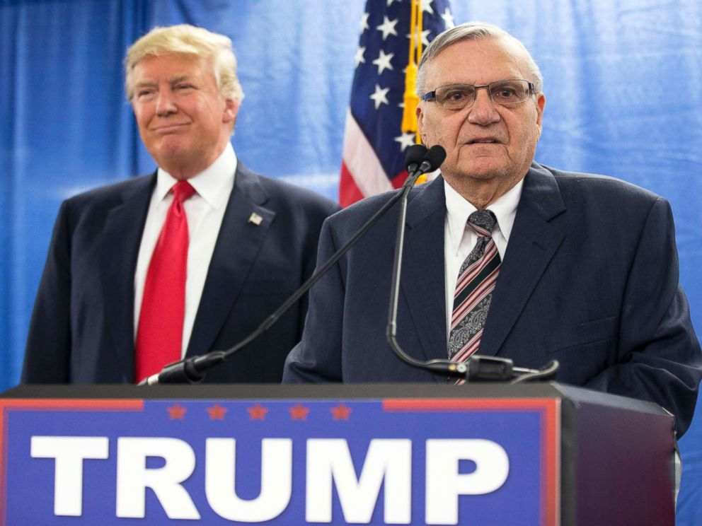 PHOTO: In this Jan. 26, 2016 file photo, Republican presidential candidate Donald Trump, left, is joined by Maricopa County, Ariz., Sheriff Joe Arpaio during a new conference in Marshalltown, Iowa.