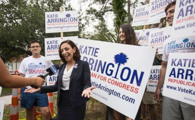 PHOTO: South Carolina Rep. Katie Arrington, who is running for the first district of South Carolina, campaigns after voting in the primary election on June 12, 2018 at Bethany United Methodist Church in Summerville, South Carolina.