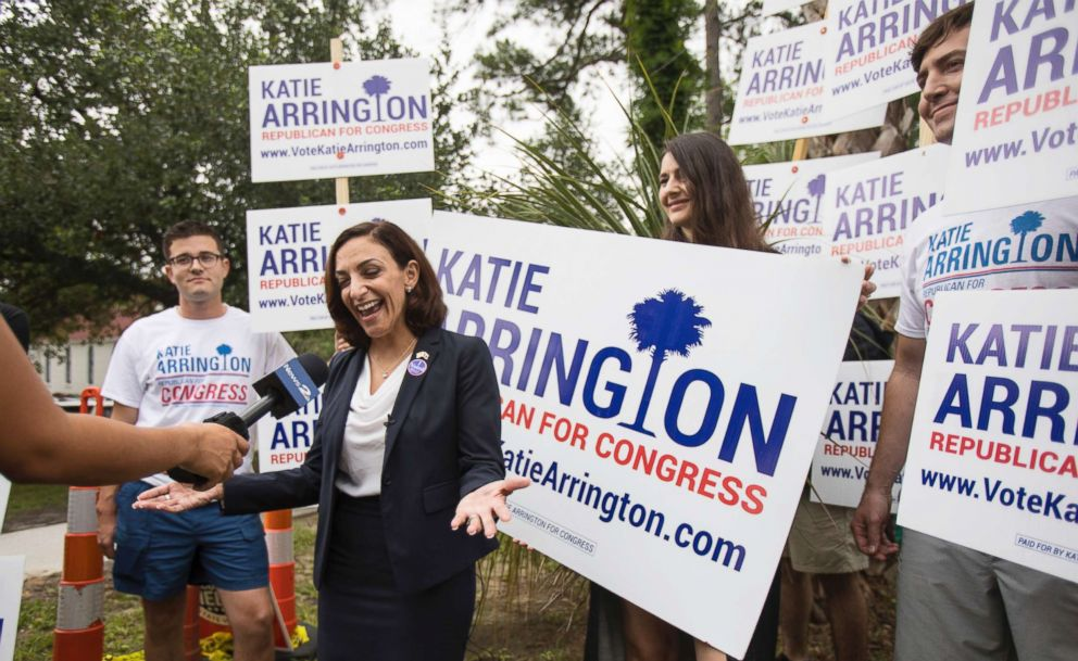 South Carolina Rep. Katie Arrington, who is running for the first district of South Carolina, campaigns after voting in the primary election on June 12, 2018 at Bethany United Methodist Church in Summerville, South Carolina.