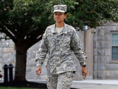 PHOTO: Cadet Simone Askew, who has been selected first captain of the U.S. Military Academy Corps of Cadets for the upcoming academic year, in West Point, Aug. 14, 2017.