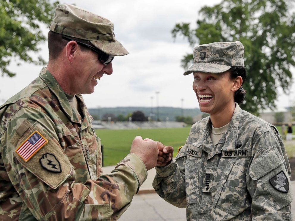 PHOTO: Cadet Simone Askew, right, talking with Brigade Tactical Officer Col. Brian Reed, has been selected first captain of the Corps of Cadets for the upcoming academic year at the U.S. Military Academy in West Point, N.Y.