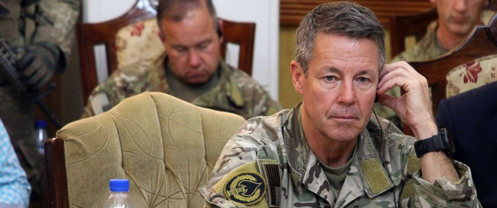 PHOTO: Austin Scott Miller, the US commander of Natos Resolute Support Mission, attends a meeting in Kandahar, Afghanistan, Oct. 18, 2018.