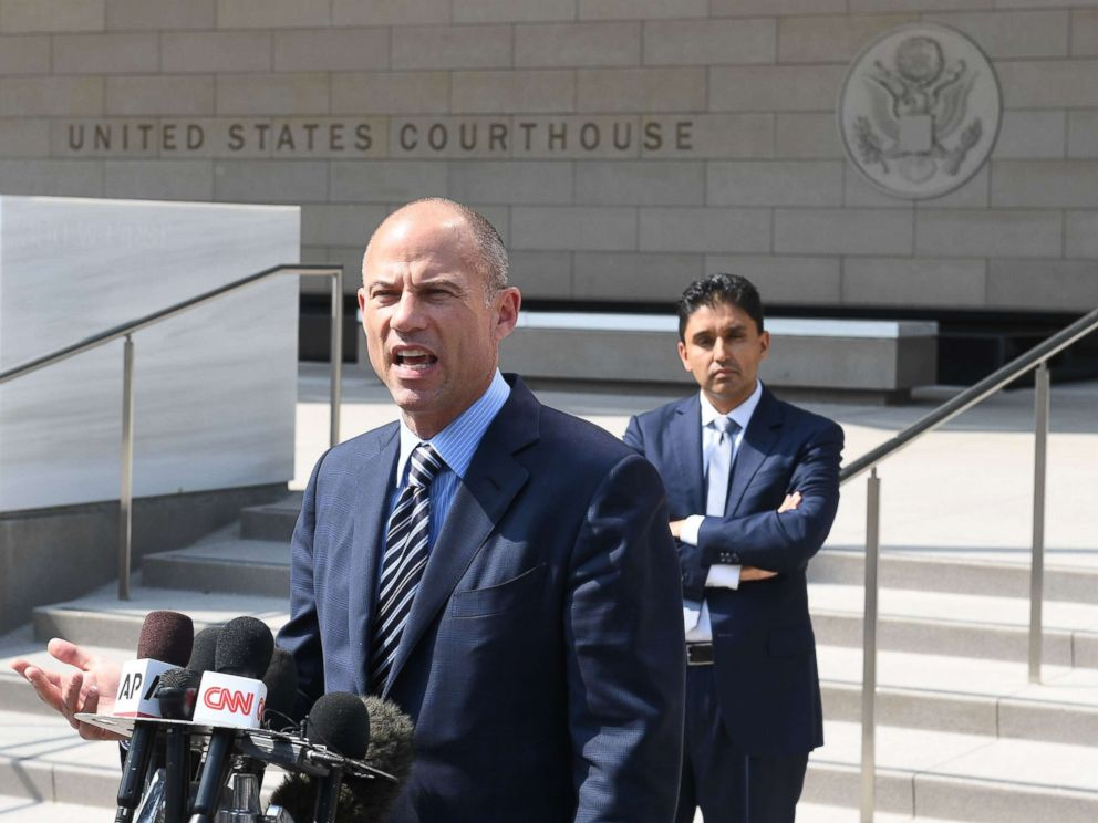 PHOTO: Michael Avenatti, the lawyer for adult film actress Stormy Daniels, speaks to the press after a court hearing at the United States Courthouse, July 27, 2018, in Los Angeles.