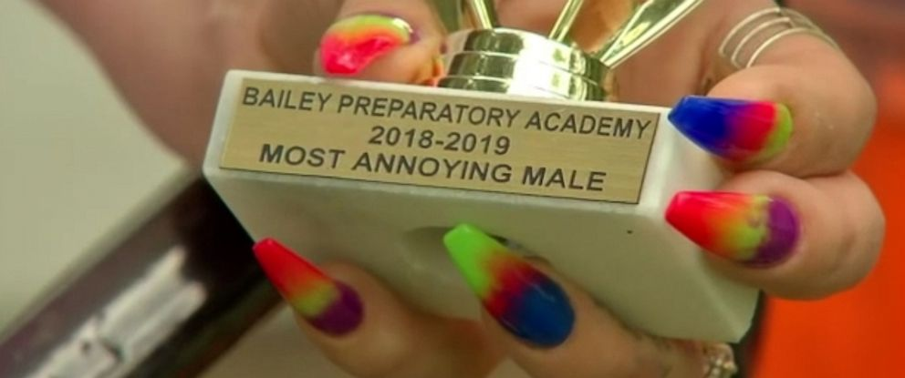 "PHOTO: Akalis Castejons teacher awarded him the ""Most Annoying Student of the Year"" award at Bailly Preparatory Academy in Gary, Ind."
