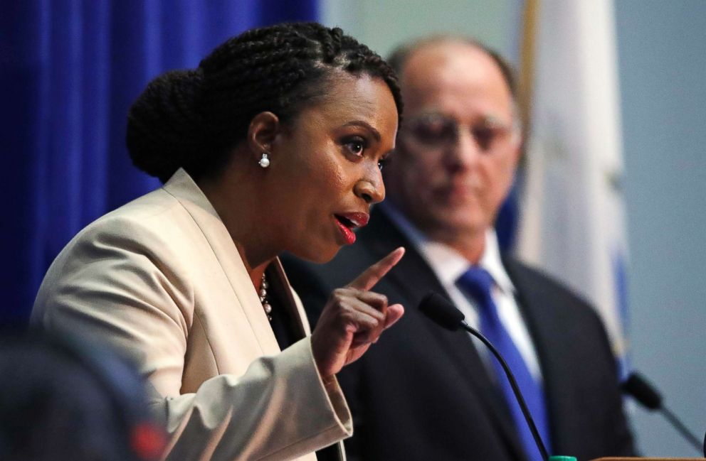 PHOTO: Boston City Councilor Ayanna Pressley, who is challenging Rep. Michael Capuano, D-Mass., gestures during a debate at the University of Massachusetts, in Boston, Aug. 7, 2018.