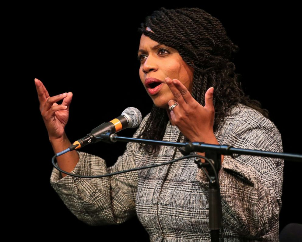 PHOTO: Boston City Councilor Ayanna Pressley speaks at a congressional forum in the Greene Theater at Emerson College in Boston on April 3, 2018.