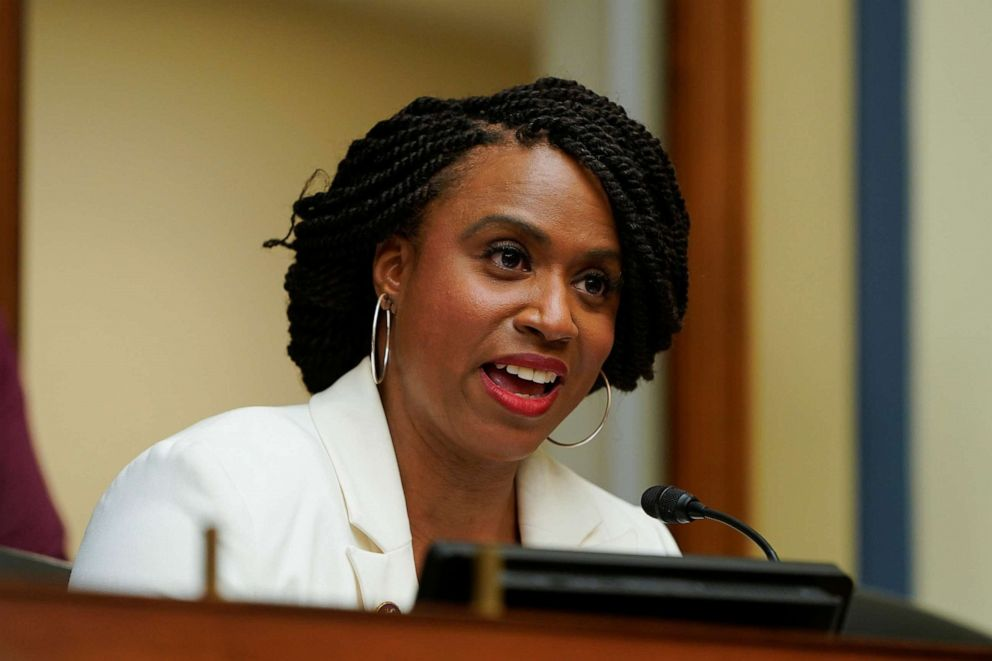 PHOTO: Rep. Ayanna Pressley speaks during a hearing of the Civil Rights and Civil Liberties Subcommittee during a hearing on Capitol Hill in Washington, May 15, 2019.